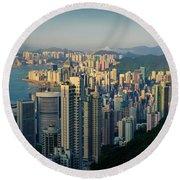 Hong Kong Cityscape Round Beach Towel