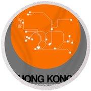 Hong Kong Orange Subway Map Round Beach Towel