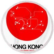 Hong Kong Red Subway Map Round Beach Towel