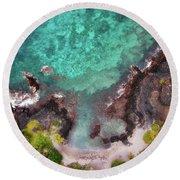 Honokohau Harbor Beach Aerial Round Beach Towel