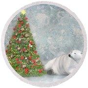 Hopeful Polar Bear Round Beach Towel