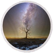 Round Beach Towel featuring the photograph Hopeless He Stays  by Aaron J Groen