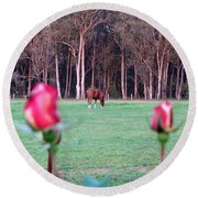 Horse And Roses Round Beach Towel