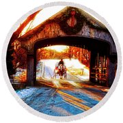 Round Beach Towel featuring the photograph Horse Drawn Carriage Covered Bridge Long Grove Il 014060036 by Tom Jelen