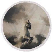 Horse In Clouds  Round Beach Towel