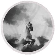 Horse In The Clouds  Round Beach Towel