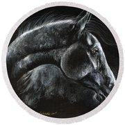 Horse Portrait 2019 03 31a Round Beach Towel