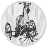 Horse Tricycle Round Beach Towel
