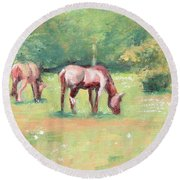 Horses In The Fields Round Beach Towel