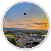 Hot Air Ballon Sunset Round Beach Towel
