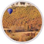 Hot Air Balloon, Beynac, France Round Beach Towel