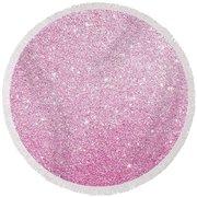Hot Pink Glitter Round Beach Towel