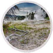 Round Beach Towel featuring the photograph Hot Springs And Geysers Landscape In Yellowstone by Tatiana Travelways