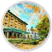 Hot Springs, Arkansas Bath House Round Beach Towel