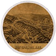 Hot Springs Arkansas Vintage City Street Map 1888 Round Beach Towel