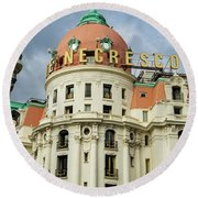 Hotel Negresco Nice France Round Beach Towel