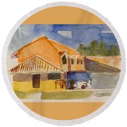 House Across The Way Round Beach Towel