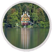 Round Beach Towel featuring the photograph House On The Lake by Davor Zerjav