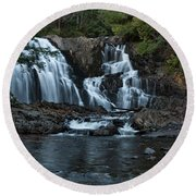 Houston Brook Falls Round Beach Towel