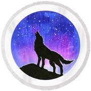 Howling Wolf Silhouette Galaxy Round Beach Towel