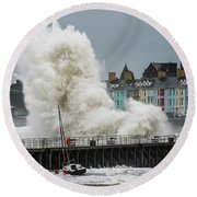 Huge Wave Hitting Aberystwyth Seafront Round Beach Towel