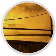 Humber Bridge Golden Sky Round Beach Towel