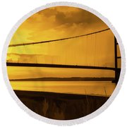 Humber Bridge Golden Sky Round Beach Towel