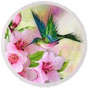 Hummingbird On Pink Blossom Round Beach Towel