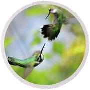 Hummingbirds Ensuing Battle Round Beach Towel