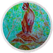 Hungry Mountain Lion Round Beach Towel