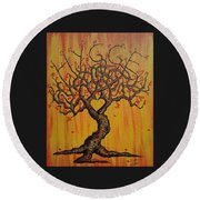 Round Beach Towel featuring the drawing Hygge Love Tree by Aaron Bombalicki