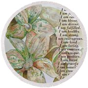 I Am...positive Affirmation In Coral And Green Round Beach Towel