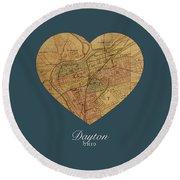I Heart Dayton Ohio Street Map Love Series No 144 Round Beach Towel