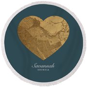 I Heart Savannah Georgia Street Map Love Series No 143 Round Beach Towel
