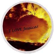I Love Jessica Heart Round Beach Towel