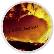 I Love Jessica Heart Round Beach Towel
