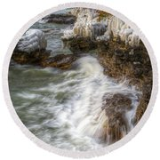 Ice And Waves Round Beach Towel