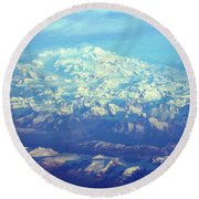 Ice Covered Mountain Top Round Beach Towel