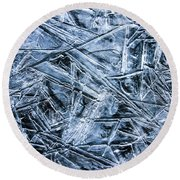 Round Beach Towel featuring the photograph Ice Crystals by Dawn Richards