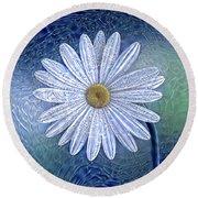 Ice Daisy Flower Round Beach Towel