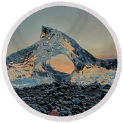 Round Beach Towel featuring the photograph Iceland Diamond Beach Abstract  Ice by Nathan Bush