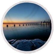 Icy Chicago Skyline At Dawn  Round Beach Towel