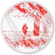 Icy Shards Fall On Setttled Snow Round Beach Towel