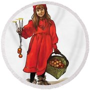 Iduna And Her Magic Apples Round Beach Towel