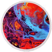 Imagination - Colorful Large Modern Abstract Painting Round Beach Towel