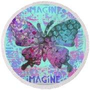 Imagine Butterfly 2 Round Beach Towel