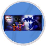 Imagine - What Is Out  There Round Beach Towel