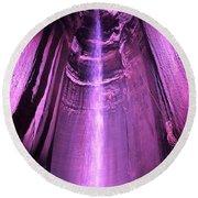 Purple Falling Water Round Beach Towel