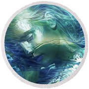 Immersed In Thoughts Round Beach Towel