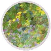 Impressions Of Golden Poppies Round Beach Towel